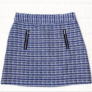 Loft Blue & White Tweed skirt W/ Zipper accents 6
